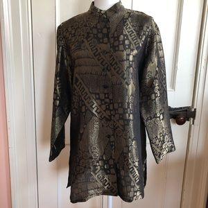 Chico's Design Blouse Tunic Size M Silk Gold